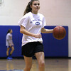 Georgetown: Georgetown's Kristen Hogan dribbles the ball up the court during practice Monday night. Photo by Ben Laing/Staff Photo