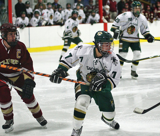Haverhill: Pentucket's Max Mangano (7) seeks out the puck during Monday night's 3-1 loss to Newburyport in Haverhill. Photo by Ben Laing/Staff Photo