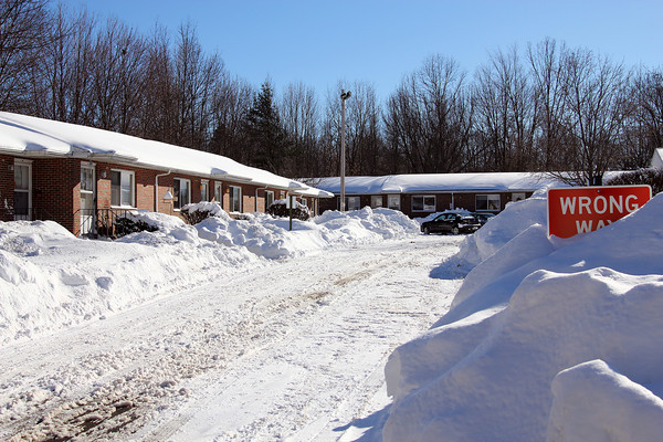 Merrimac: Residents at Merri Village in Merrimac were upset about a lack of snow plowing during Wednesday's nor'easter. Photo by Ben Laing/Staff Photo