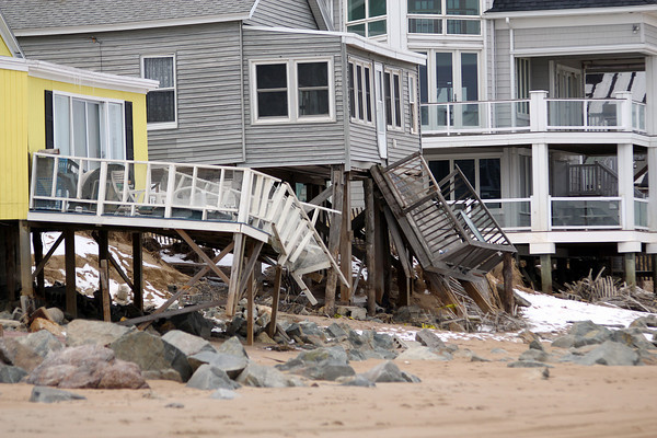 Salisbury: Two decks along Salisbury Beach were destroyed by recent storms. Photo by Ben Laing/Staff Photo