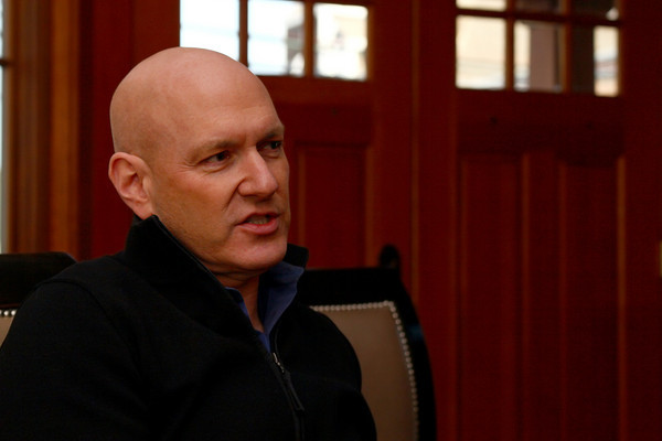 """Newburyport: Dr. Keith Ablow sits down in his office in Newburyport for an interview about his upcoming book with Glenn Beck, """" The Seven Wonders That Will Change Your Life"""". Photo by Ben Laing/Staff Photo"""