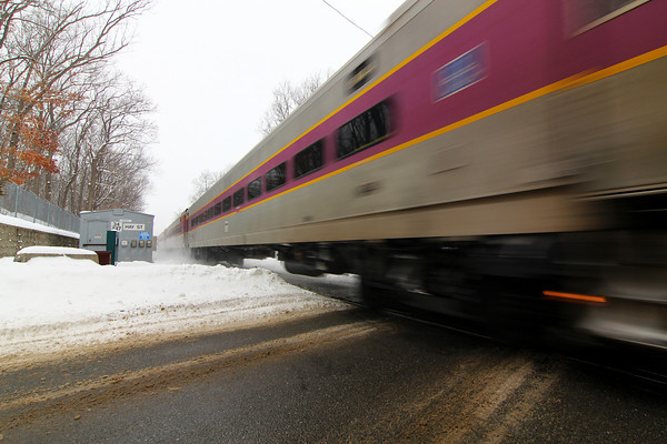 Newbury: A commuter train crosses Hay Street in Newbury Wednesday afternoon on its way from Newburyport to Boston. Photo by Ben Laing/Staff Photo