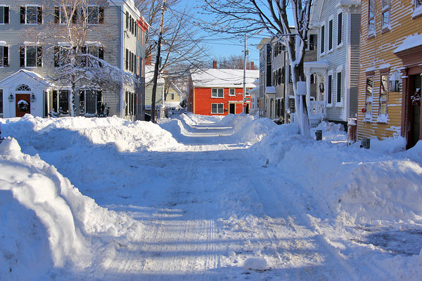 Newburyport: Beck Street in Newburyport was one of many side streets still covered in snow after Wednesday's nor'easter. Photo by Ben Laing/Staff Photo
