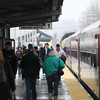 Newburyport: Commuters exit an MBTA train at Newburyport Station Wednesday afternoon. Photo by Ben Laing/Staff Photo