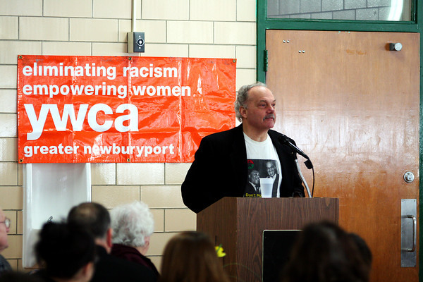 West Newbury: Monday's guest speaker at the 18th Annual Martin Luther King Jr. Breakfast at Pentucket High School, Paul Marcus, addresses the audience regarding his thoughts on racism, both past and present. Photo by Ben Laing/Staff Photo