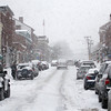 Newburyport: Heavy snow blankets State Street in downtown Newburyport Tuesday afternoon, before eventually turning to rain. Photo by Ben Laing/Staff Photo