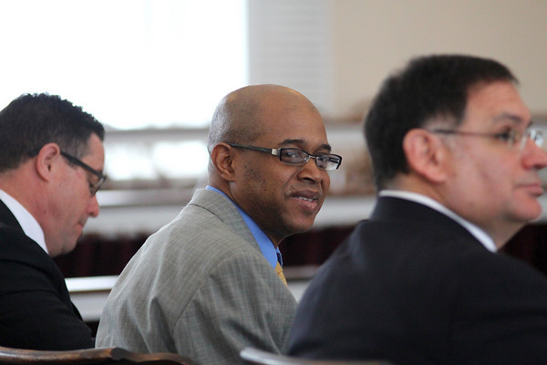 Newburyport: Accused Lawrence police officer, Kevin Sledge, sits in the courtroom at Newburyport Superior Court Tuesday morning during jury selection for his upcoming trial. Photo by Ben Laing/Staff Photo