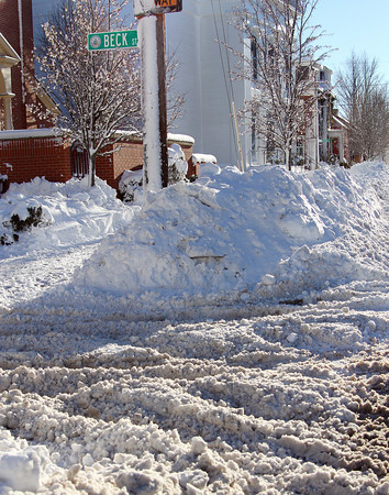 Newburyport: The intersection of Beck and Federal Streets in Newburyport was still a mess Thursday afternoon, after Wednesday's nor'easter brought heavy snow to the region. Photo by Ben Laing/Staff Photo
