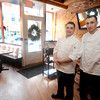 "Newburyport: Haverhill native William ""Billy"" Brandolini, left,  has got the job of Executive Chef at Ceia, his first time in such a position. He'll be flanked by his brother, Scott Brandolini, executive chef of the Seaglass Restaurant in Salisbury. Scott had help him get his career off the ground.Jim Vaiknoras/Staff photo"