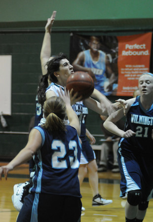 West Newbury: Pentucket's Tess Nogueira slices through the Wilmington defense during their game at Pentucket Thursday night. The Sachems won the game 58-28.Jim Vaiknoras/Staff photo