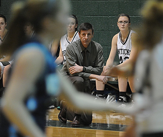 West Newbury: Pentucket coach John McNamara watches from the bench during his teams game against Wilmington Thursday night. The Sachems won the game 58-28 giving McNamara his 101st win..Jim Vaiknoras/Staff photo