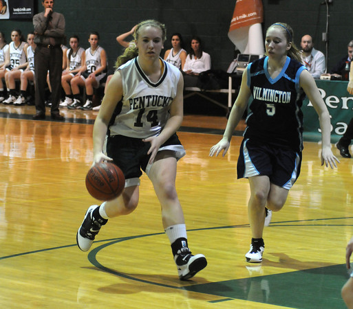 West Newbury: Pentucket's Nicole Viselli drives on Wilmington's Emily Cranel during their game at Pentucket Thursday night. The Sachems won the game 58-28.Jim Vaiknoras/Staff photo