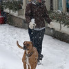 Newburyport: Emily Wetenkamp, of Newburyport, walks Enzo up State Street ithrough the Friday morning snow. Jim Vaiknoras/Stafff  photo
