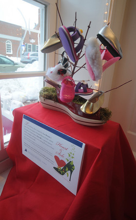 Newburyport: Shoe display by Lee Rowen in the window of Katwalk on State Street in Newburyport. It's Anna Jaques Hospital Hearts and Sole Exhibit. Jim Vaiknoras/Staff photo