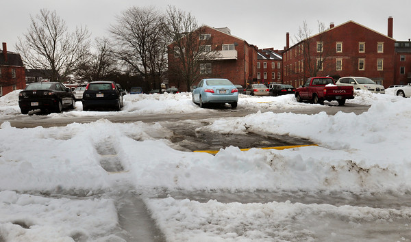 Newburyport: Parking is difficult in some parts of the NRA's East Lot due to piles of snow. Bryan Eaton/Staff Photo