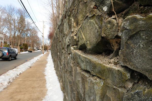 Newburyport: The wall at Newburyport High School along Toppan's Lane is in need of repair. Bryan Eaton/Staff Photo