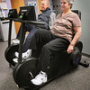 Newburyport: Geoffrey Mullis, left, of Amesbury and Maria Vinciguerra of West Newbury get a workout at the Anna Jaques Hospital Cardiac Rehabilitaion Center. Bryan Eaton/Staff Photo