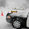 Newburyport: A Newburyport police cruiser blocks High Street in front of the Kelley School where a utility pole fell, reportedly hit by a city snow plow during whiteout conditions. Bryan Eaton/Staff Photo