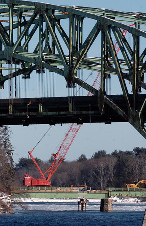 Amesbury: A huge crane has been brought to the Hines Bridge which is being demolished and rebuilt. Bryan Eaton/Staff Photo