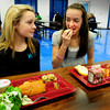 Seabrook: Serena Brown, 11, left, and Sarah DeMello, 13, started a petition signed by 80 fellow students at Seabrook Middle School to ask the school board for healthier lunch options. Bryan Eaton/Staff Photo