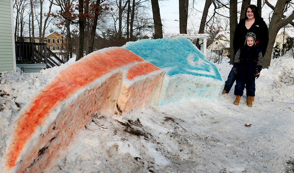 Salisbury: Hayley Nelson, 15, built a snow sculpture of the New England Patriot's logo with red and blue coloring in front of her 131 Beach Road home in Salisbury. Also helping was her little brother Kaleb, 6, who's a big fan and, not surprisingly, likes Tom Brady the best.