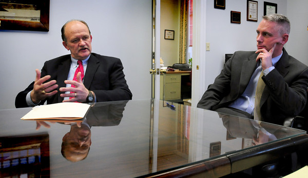 Amesbury: Retiring Amesbury Schools Superintendent G. David Jack talks to the Daily News in a meeting with Mayor Thatcher Kezer yesterday afternoon. Bryan Eaton/Staff Photo