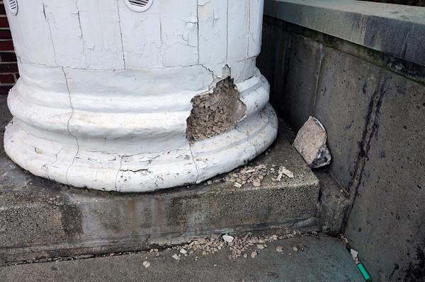 Newburyport: The base of the columns in front of Newburyport High School are in need of repair. Bryan Eaton/Staff Photo