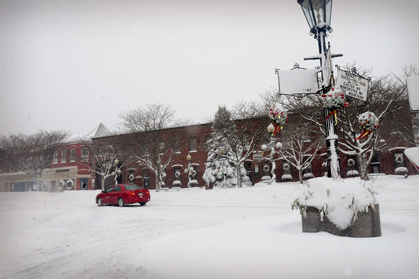 Amesbury: Amesbury's Market Square was a scenic and quiet spot yesterday as many people stayed off the roads during the height of the storm. Bryan Eaton/Staff Photo