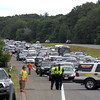 Byfield: Traffic along Rt. 95 North was backed up near Exit 55 in Byfield Wednesday afternoon after a pick up truck rolled over, requiring one of the passangers to be taken via helicopter to a Boston hospital. Photo by Ben Laing/Staff Photo