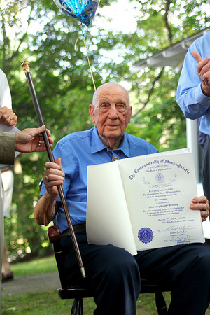 Georgetown: Jim Boynton of Georgetown celebrated his 100th birthday Tuesday afternoon, and was also awarded the Boston Post Cane as the town's oldest living resident. Photo by Ben Laing/Staff Photo