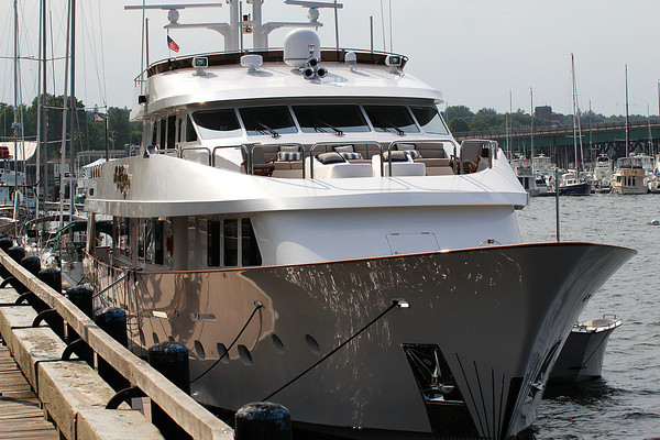Newburyport: The Sweet Escape, a luxury yacht from the Bikini Islands, was docked along the boardwalk in Newburyport Tuesday afternoon. Photo by Ben Laing/Staff Photo