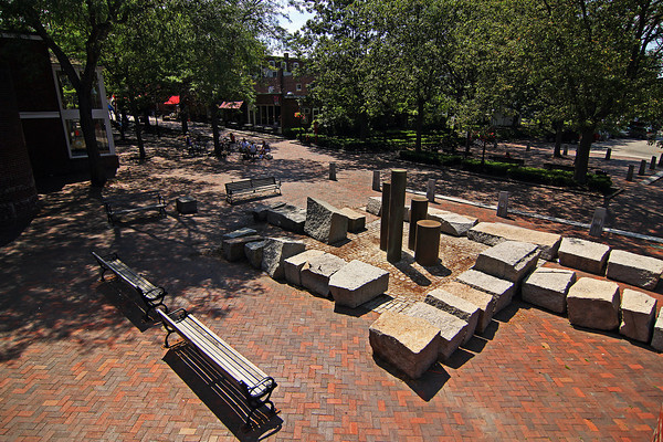 Newburyport: The fountains on Inn Street in downtown Newburyport remain out of use as they await repairs. Photo by Ben Laing/Staff Photo