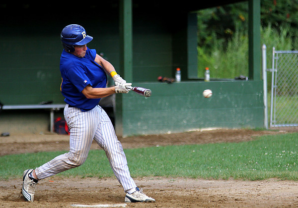 Rowley: Chris Esposito, former Georgetown Royal and current Rowely Ram, drives a ball into play during Wednesday's game against Ipswich. Photo by Ben Laing/Staff Photo