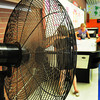 Salisbury: A half dozen large fans kept the air circulating at the Boys and Girls Club in Salisbury yesterday afternoon. The club also has some cooling off activities sceduled for today and tomorrow to keep the children comfortable. Bryan Eaton/Staff Photo