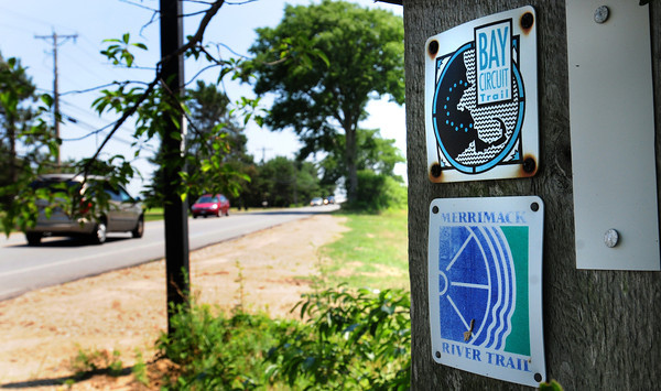 Newburyport: Signs near the entrance of Parker River National Wildlife Headguarters on Plum Island Turnpike show what local groups and planning officials hope to bring to realization: A 50-mile continuous trail along the Merrimack River, from the tip of Plum Island to the New Hampshire border. Bryan Eaton/Staff Photo