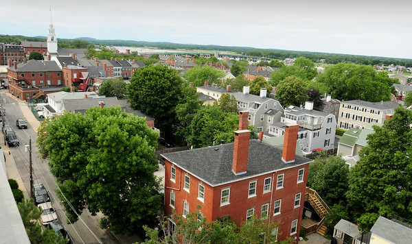 Newburyport: Downtown Newburyport and areas off High Street are proposed to be part of a historical local district. A view from the Sullivan Building's eighth floor looks west toward State Street. Bryan Eaton/Staff Photo