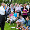 Salisbury: Governor Deval Patrick addresses a gathering in Salisbury Square last night before taking questions from those in attendance. Bryan Eaton/Staff Photo