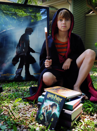 Newburyport: Sam Sidford, 10, of Newburyport is a huge Harry Potter fan who owns all the books, movies and even a cloak and magic wand. Bryan Eaton/Staff Photo