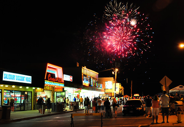 Salisbury: Fireworks explode over Salisbury Beach Center on Saturday night and were scheduled for another display last night as the rain was expected to clear in time. Bryan Eaton/Staff Photo