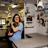 Salisbury: Long Tall Sally, with Liz Pease, director of operations for the Merrimack Valley Feline Rescue Society, was a patient in the Catmobile. Bryan Eaton/Staff Photo
