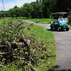 Newbury: Grounds manager Nate Walker drives by downed trees that have been cut up for removal at Ould Newbury Golf Club. Over a dozen trees were damaged by the storm that swept through early Monday night causing the club to close temporarily. Bryan Eaton/Staff Photo