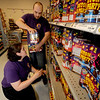 Seabrook:Phantom Fireworks employees  Julie Ingham and her husband Rick Ingham stock shelves at their Seabook New Hampshire store. Jim Vaiknoras/Staff photo