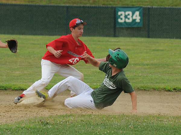 Rowley:Pentucket's Kyle Messier slides safely into second under the tag of North Andover's Patrick Agri during the Babe Ruth All Star game at Eiros Field in Rowley Saturday. The games doubled as a fund raiser for coach Dave Nye. Jim Vaiknoras/staff photo