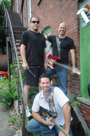 """Amesbury:The Amesbury based band Sunchunk, from the left:Mike Betolami , Brett Manoloff, and John Catino. The  band is taking the field at Fenway Park on Sunday, July 10, to sing """"God Bless America"""" during the 7th inning stretch.<br /> Jim Vaiknoras/Staff photo"""