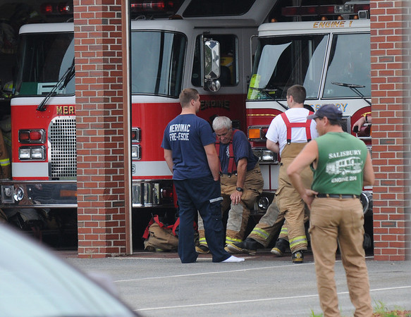 Salisbury: Scene of an accident at Salisbury Fire Station Friday afternoon. Jim Vaiknoras/Staff photo