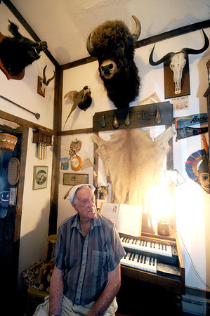 Newbury: Chester Martin in his trophy room at his Plum Island home. Jim Vaiknoras/staff photo