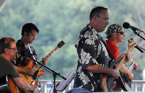 """West Newbury: The rock band """"Way to the River"""" performs at the West Newbury  town gazebo Thursday night. Jim Vaiknoras/Staff photo"""