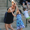 Amesbury:Victoria Kowalczyk , 6, dances with Kristina Gourley to the music of  EJ & Crazy Maggy at the Al Capp Amphitheater at the Mill Yard in Amesbury. Jim Vaiknoras/Staff photo