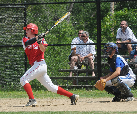 Methuen: Charles Nutter smacks a double for Post 150 against Methuen at Rangers Field in Methuen Saturday. Jim Vaiknoras/Staff photo