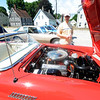 "Amesbury: Tom Champion of Amesbury checks out a 1957 T-Bird convertable at the "" Classics for a Cure"" antique car show at the All Saints Church Parking lot  Saturday during the Amesbury Day Celebration . Jim Vaiknoras/Staff photo"
